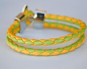 Yellow and Green braided leather cord with Silver Clasp bracelet
