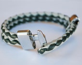 Greyish braided leather cord with Silver Clasp bracelet
