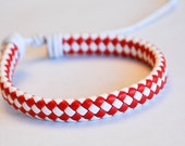 Red and White flat braided cord leather bracelet