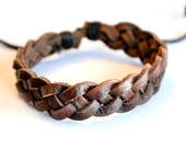 Brown double braided leather bracelet