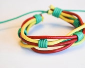 Green hemp Ropes interlaced with Yellow and Red leather Bracelet