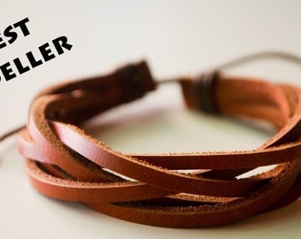Brown interlaced leather bracelet