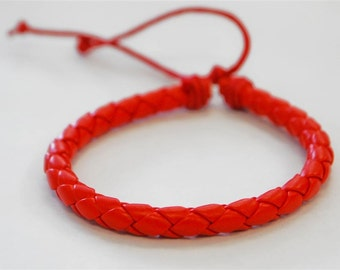 Red braided leather cord Bracelet