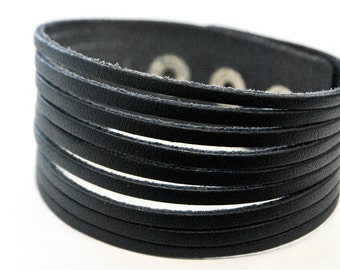 Classic Black Stripe leather bracelet