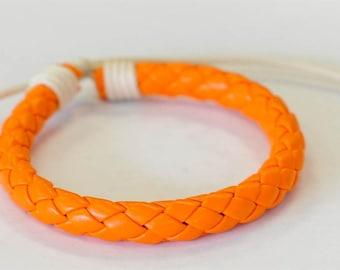 Orange braided leather cord Bracelet