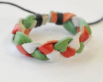 On Sale - White Red and Green Braided Leather Bracelet