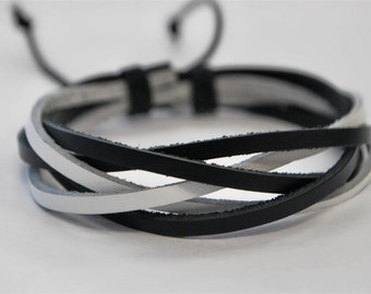 Black and White interlaced leather bracelet