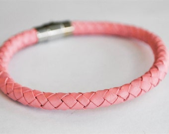 Pink braided leather cord with silver magnetic buckle bracelet