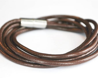 Triple Brown round doublewrapped Magnetic leather bracelet