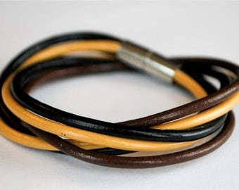 Brownish and Black round doublewrapped Magnetic leather bracelet