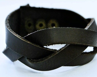 3 Black stripe interlaced leather bracelet