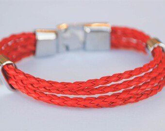 Multi Red braided leather cord with Silver Clip on buckle bracelet