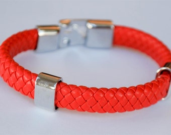 Red braided leather cord with Silver Clip on buckle bracelet