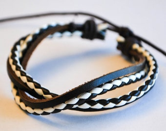 Black and White braided cord interlaced with Blackleather bracelet