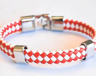 Red and White braided leather cord with Silver Clip on buckle bracelet