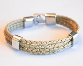Multi beige braided leather cord with Silver Clip on buckle bracelet