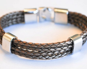 Multi Metallic Brown braided leather cord with Silver Clip on buckle bracelet