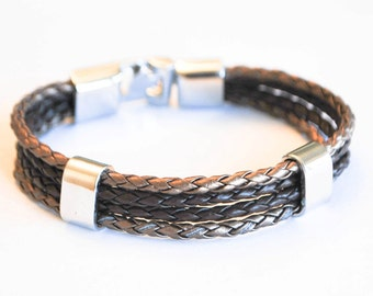 Multi Metallic Brown and Brown braided leather cord with Silver Clip on buckle bracelet