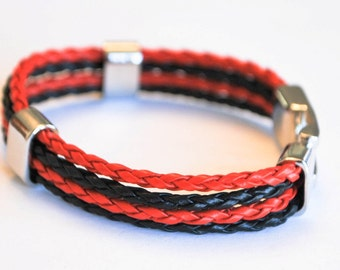 Multi Red and Black braided leather cord with Silver Clip on buckle bracelet