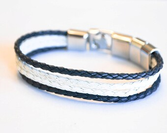 Multi Blue and White braided leather cord with Silver Clip on buckle bracelet