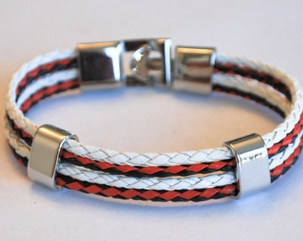 Multi Black and Red braided leather cord with White Silver Clip on buckle bracelet