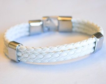 Triple White leather cord with Silver Clip on buckle bracelet