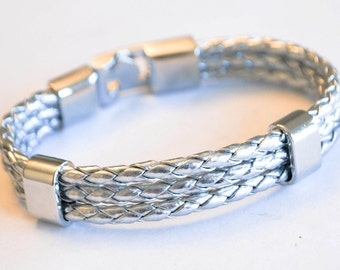 Triple Silver leather cord with Silver Clip on buckle bracelet