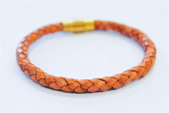 Light Brown braided leather cord with Gold magnetic buckle bracelet