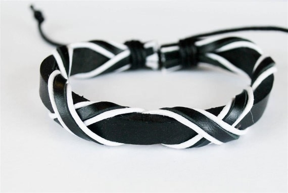Black and White cord crossing with Black leather bracelet