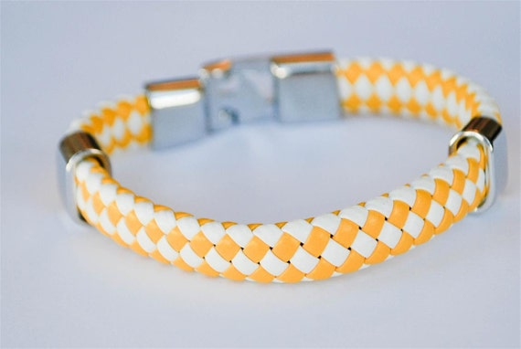 Yellow and White braided leather cord with Silver Clip on buckle bracelet