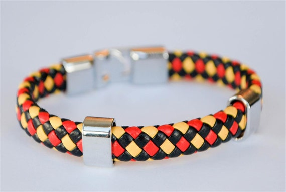 Red Yellow and Black braided leather cord with Silver Clip on buckle bracelet