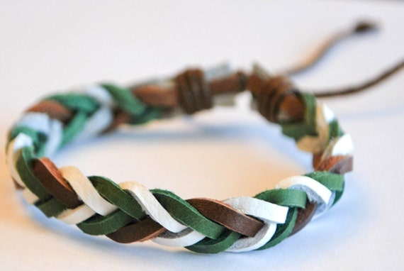 Earth color braided leather bracelet