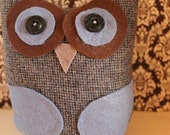 Stuffed Sweater Owl - Blue and Brown