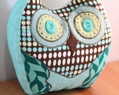Stuffed Standing Owl for Ethiopian Adoption - Blue and Brown