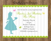 Alice in Wonderland Inspired PERSONALIZED Invitation 5x7 Jpeg DIGITAL File