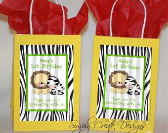 Safari Favor Tag ungle Babies Zebra DIGITAL FILE 4x6 Jpeg Digital File Personalized