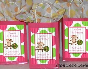 Mod Monkey Party Favor Tag Baby Shower Girl DIGITAL FILE 4x6 Jpeg Digital File Personalized