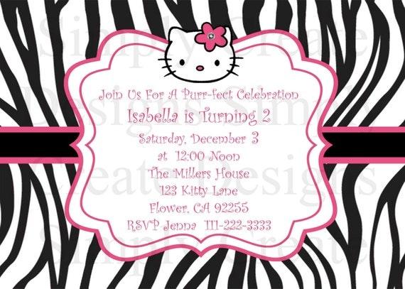 Hello Kitty Invitation Zebra Invite DIGITAL 5x7 jpeg File