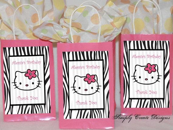 Hello Kitty Favor Tag Zebra DIGITAL FILE 4x6 Jpeg Digital File Personalized