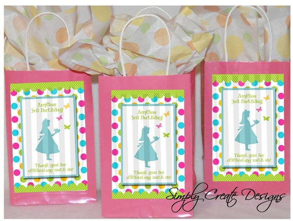 Alice In Wonderland Party Favor Tag DIGITAL FILE 4x6 Jpeg Digital File Personalized