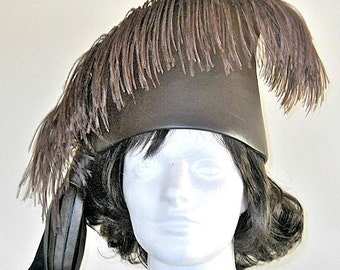 Chocolate Brown Cowhide Leather Turbon Style Tassel Hat With Brown Ostrich Feather
