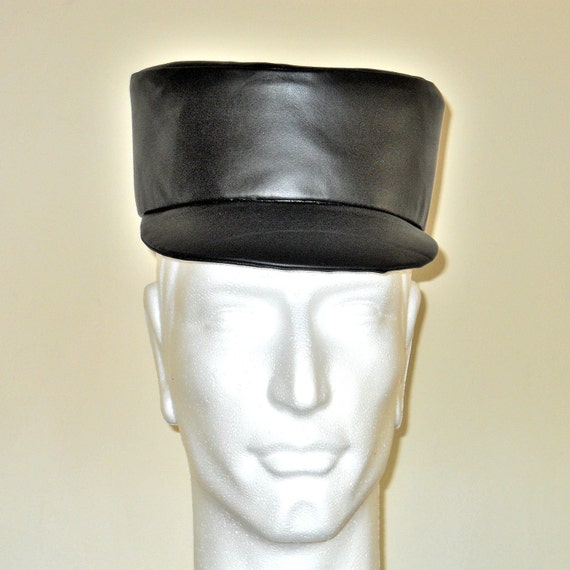 Black Cowhide Leather Military Style Cap
