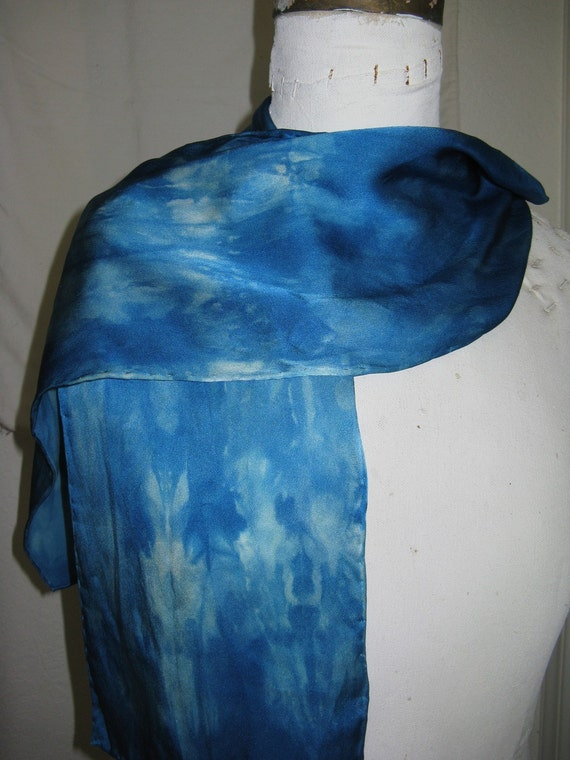 shades of caribbean blue  ...   hand dyed silk scarf