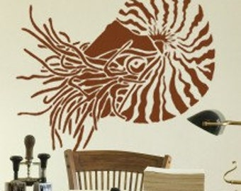 Stencil for Walls - NAUTILUS - Large STENCIL, Reusable - DIY Home Decor/Wall Art