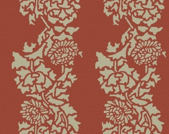 Wall Stencil, Reusable - Damask CHRYSANTHEMUMS Stripe - William Morris Inspired DIY Home Decor