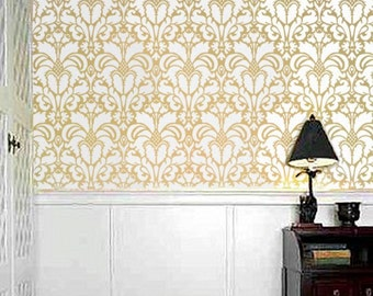 Damask Pattern STENCIL for walls - DAMASK no. 1 - Large, Reusable Pattern stencil - DIY Home Decor