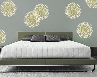 Flower STENCIL for Walls - Chrysanthemum no. 2 - 3 SIZES - Flower stencil for Walls - Reusable Modern Wall Decor