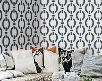 "STENCIL for Walls - Modern Allover Wall Stencil - ""Nautical Chain Pattern"" - DIY Modern Home Decor"