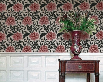 Damask Pattern STENCIL for Walls, Reusable - William Morris Damask HAMMERSMITH - DIY Home Decor
