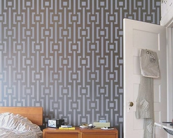Wall STENCIL - Modern Pattern - Reusable MOD Stencil for walls - Easy DIY Home Decor
